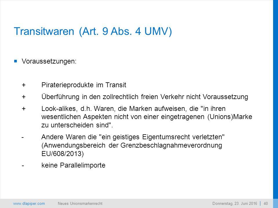 www.dlapiper.com 40 Neues UnionsmarkenrechtDonnerstag, 23.