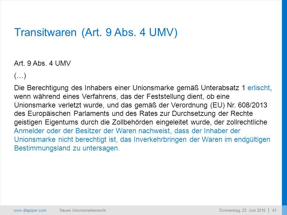 www.dlapiper.com 41 Neues UnionsmarkenrechtDonnerstag, 23.