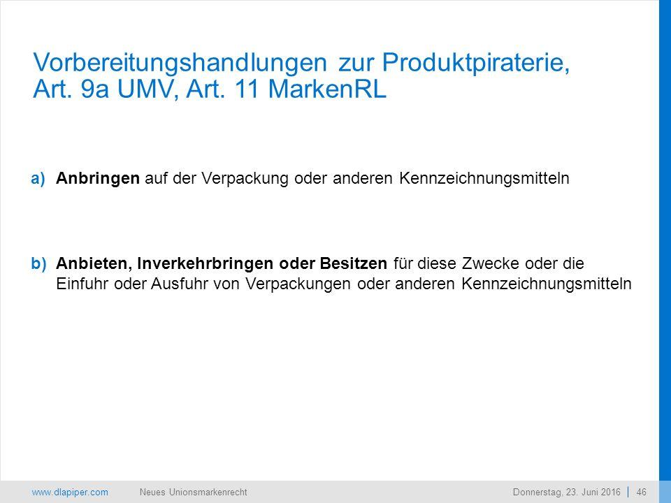 www.dlapiper.com 46 Neues UnionsmarkenrechtDonnerstag, 23.