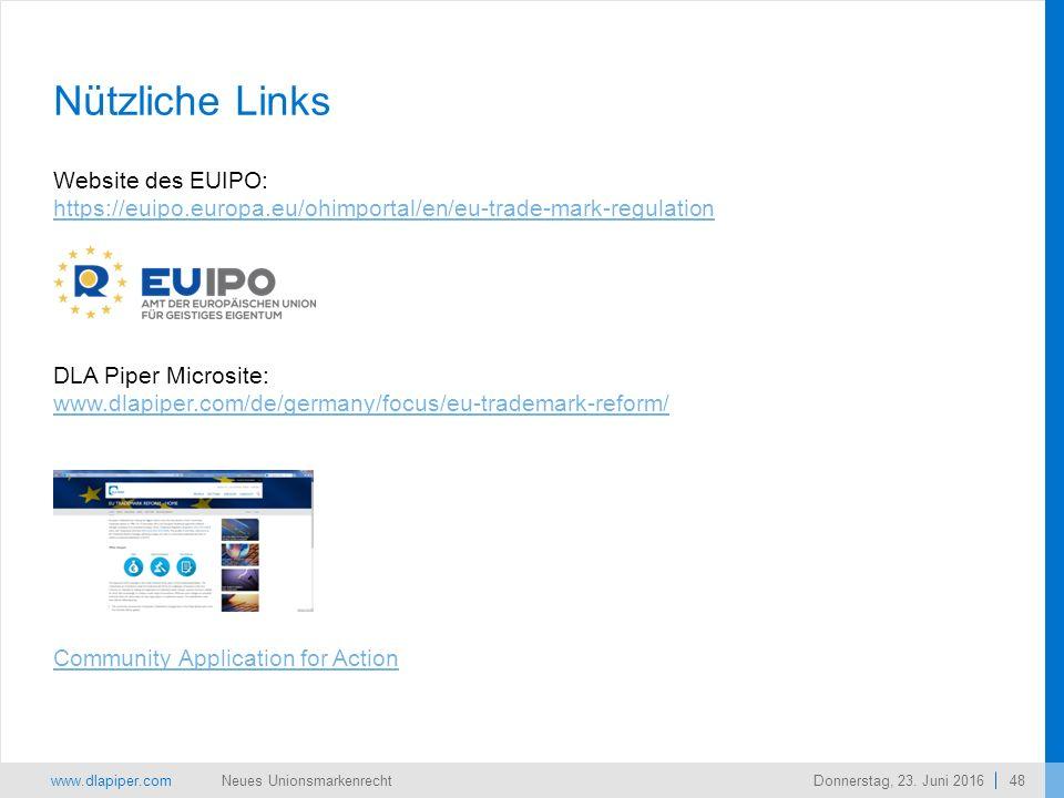 www.dlapiper.com 48 Neues UnionsmarkenrechtDonnerstag, 23.