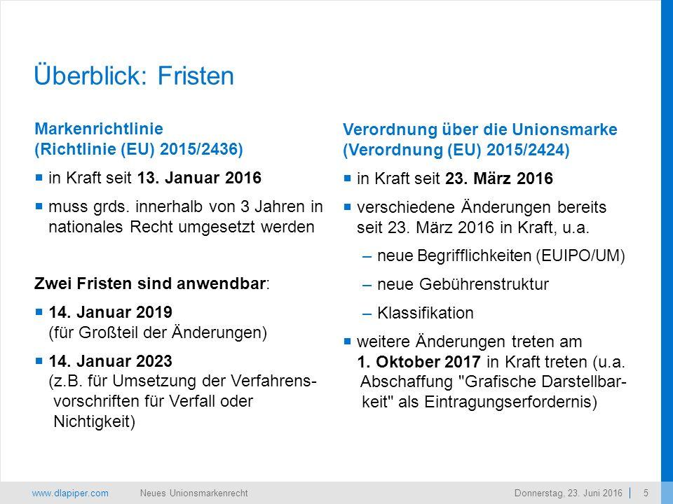 www.dlapiper.com 5 Neues UnionsmarkenrechtDonnerstag, 23.