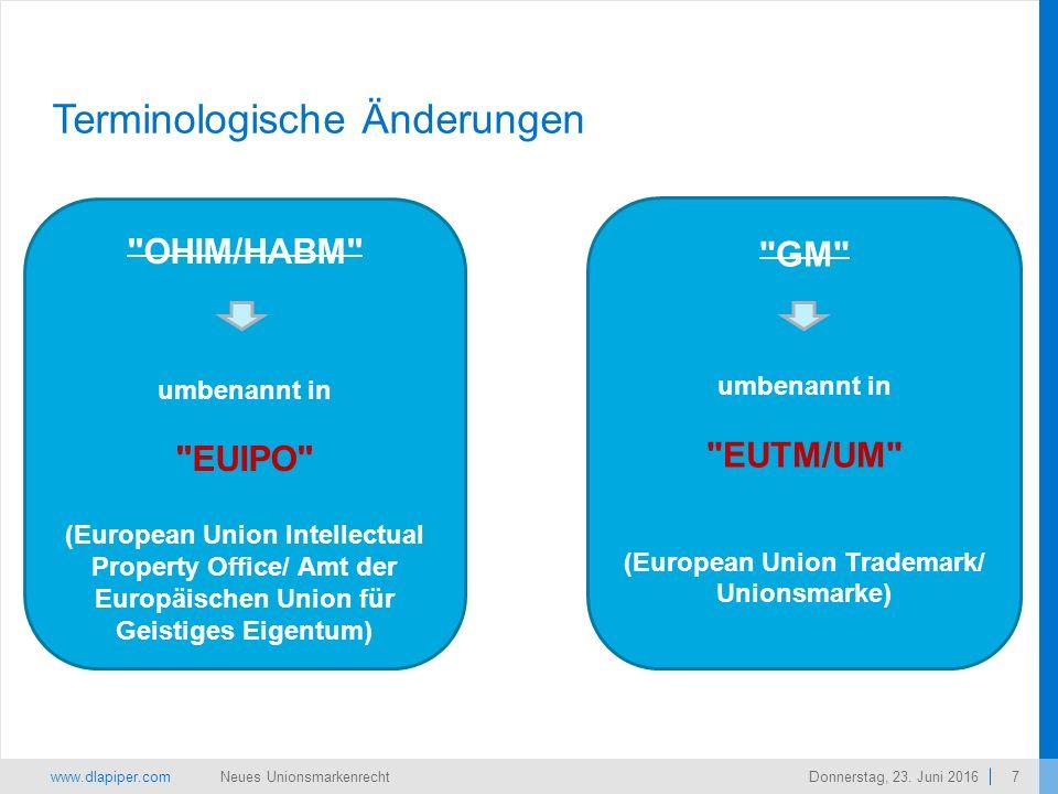 www.dlapiper.com 7 Neues UnionsmarkenrechtDonnerstag, 23.