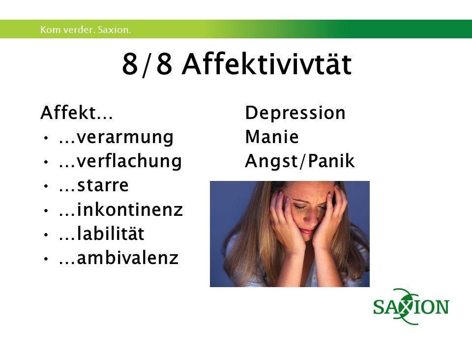 Kom verder. Saxion. 8/8 Affektivivtät Affekt… …verarmung …verflachung …starre …inkontinenz …labilität …ambivalenz Depression Manie Angst/Panik
