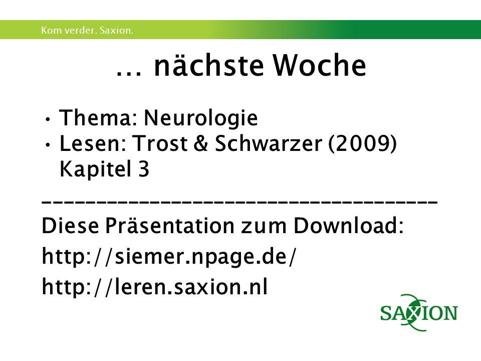 Kom verder. Saxion. … nächste Woche Thema: Neurologie Lesen: Trost & Schwarzer (2009) Kapitel 3 _____________________________________ Diese Präsentati