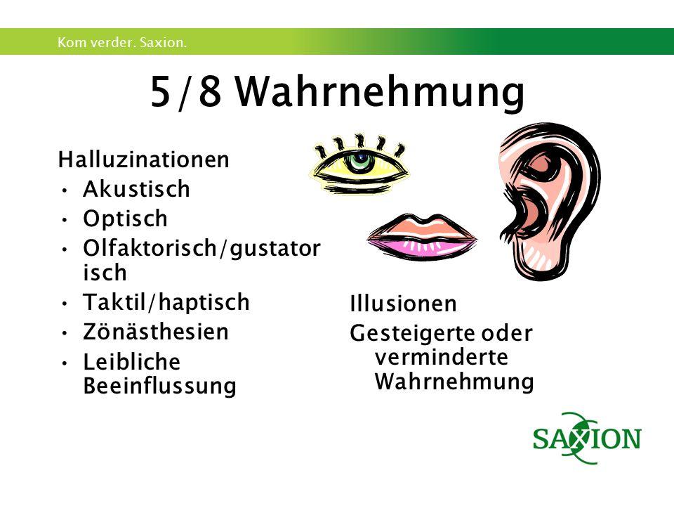 Kom verder. Saxion. 5/8 Wahrnehmung Halluzinationen Akustisch Optisch Olfaktorisch/gustator isch Taktil/haptisch Zönästhesien Leibliche Beeinflussung