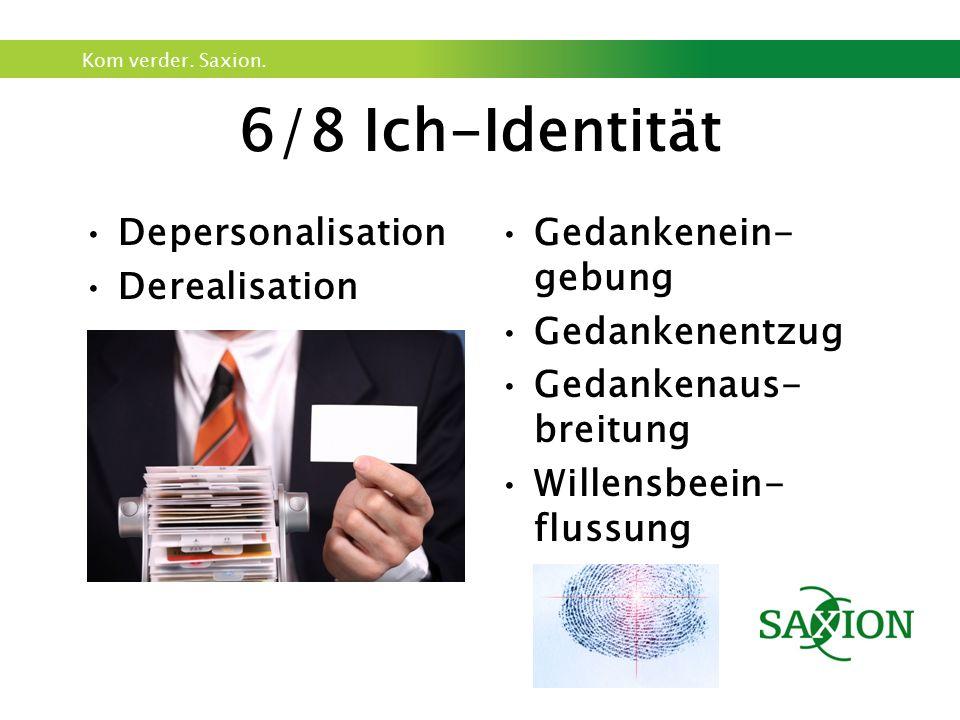 Kom verder. Saxion. 6/8 Ich-Identität Depersonalisation Derealisation Gedankenein- gebung Gedankenentzug Gedankenaus- breitung Willensbeein- flussung