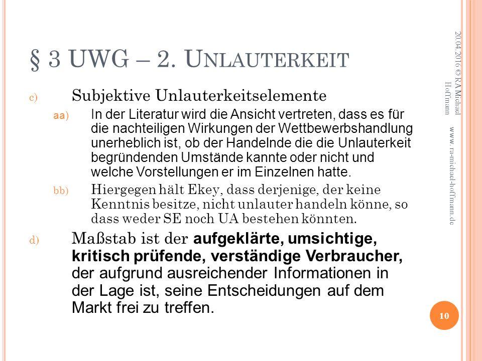 § 3 UWG – 2.