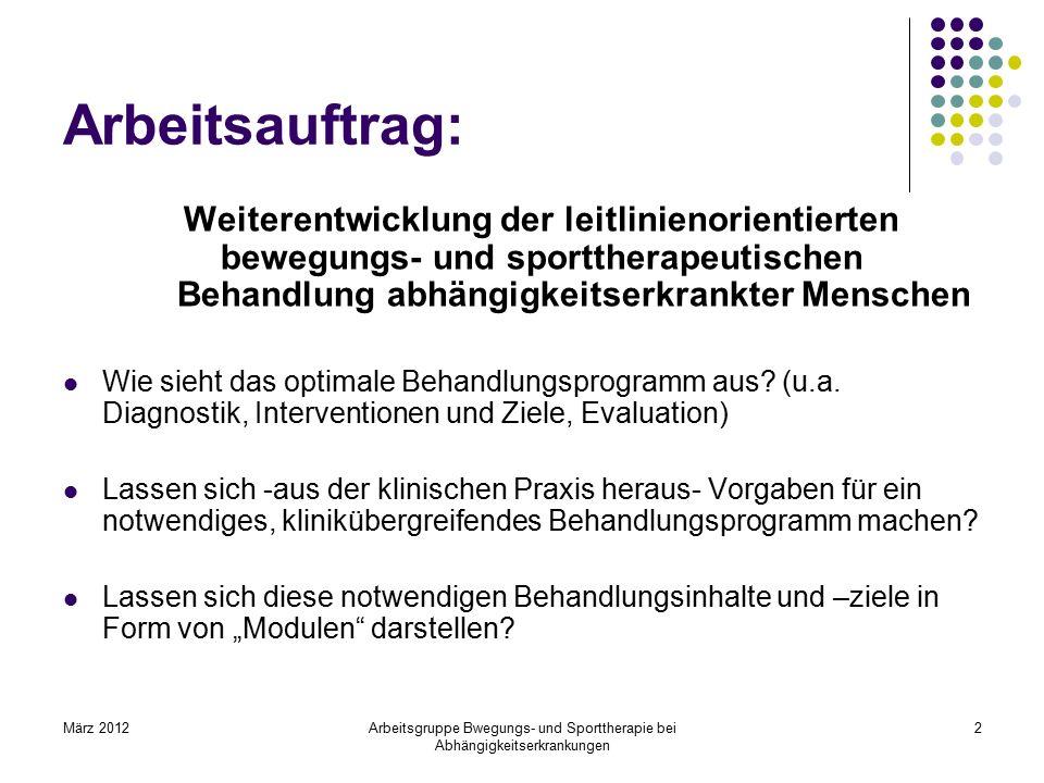 März 2012Arbeitsgruppe Bwegungs- und Sporttherapie bei Abhängigkeitserkrankungen 2 Arbeitsauftrag: Weiterentwicklung der leitlinienorientierten bewegu
