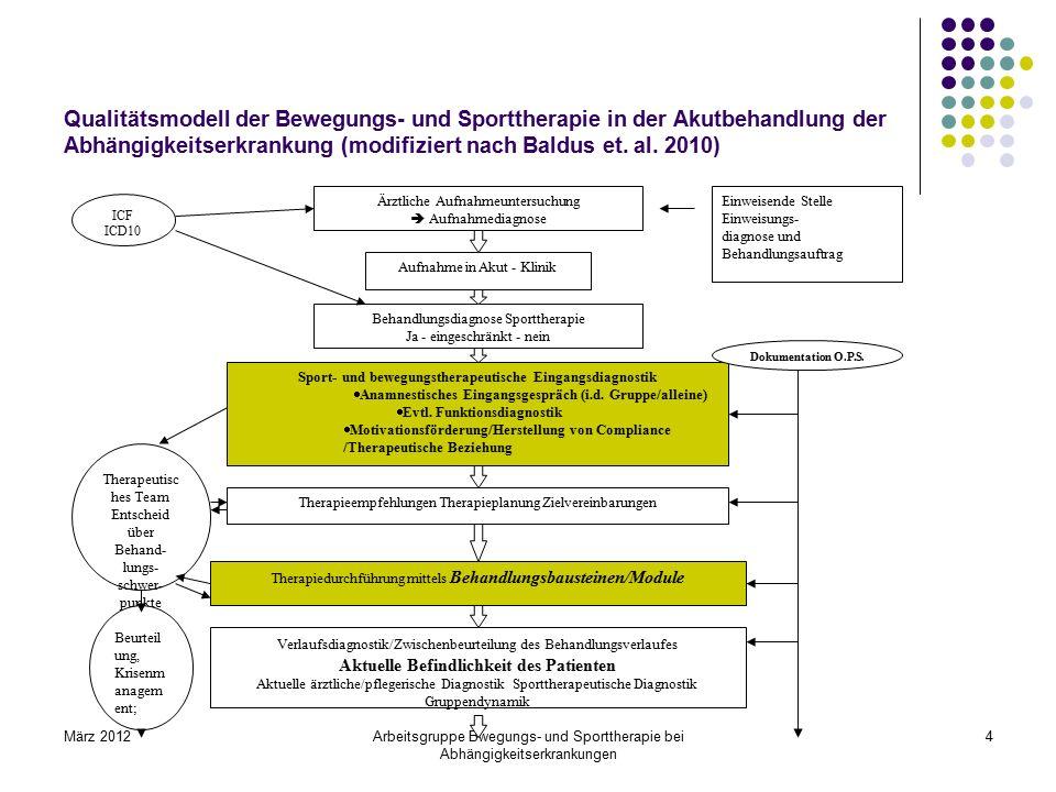 März 2012Arbeitsgruppe Bwegungs- und Sporttherapie bei Abhängigkeitserkrankungen 4 Qualitätsmodell der Bewegungs- und Sporttherapie in der Akutbehandl