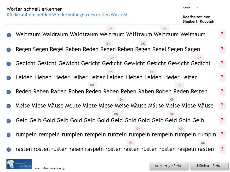 Übungsart: Seite: Bearbeitet von: Siegbert Rudolph Lesemotivationstraining Wörter schnell erkennen Klicke auf die beiden Wiederholungen des ersten Wor
