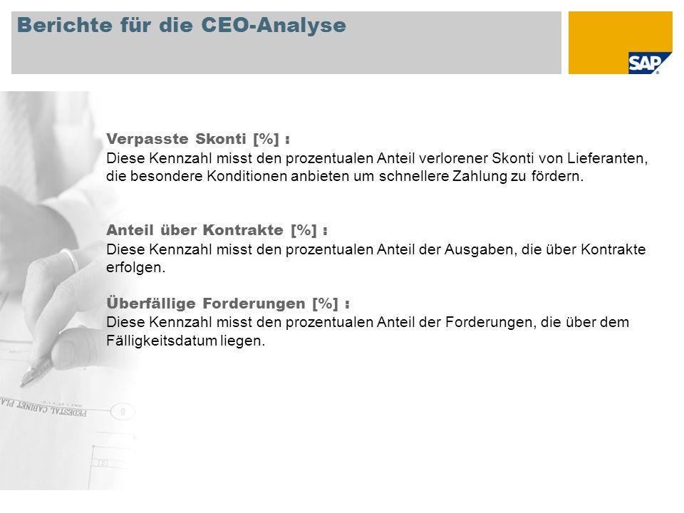 Berichte für die CEO-Analyse Verpasste Skonti [%] : Diese Kennzahl misst den prozentualen Anteil verlorener Skonti von Lieferanten, die besondere Kond