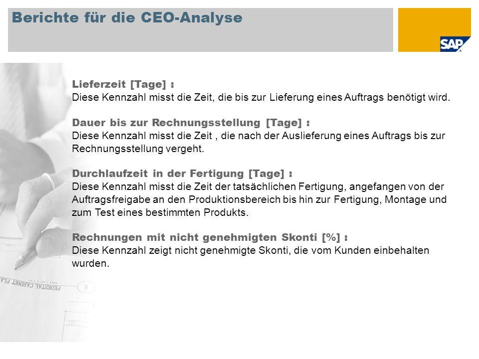 Berichte für die CEO-Analyse Lieferzeit [Tage] : Diese Kennzahl misst die Zeit, die bis zur Lieferung eines Auftrags benötigt wird. Dauer bis zur Rech