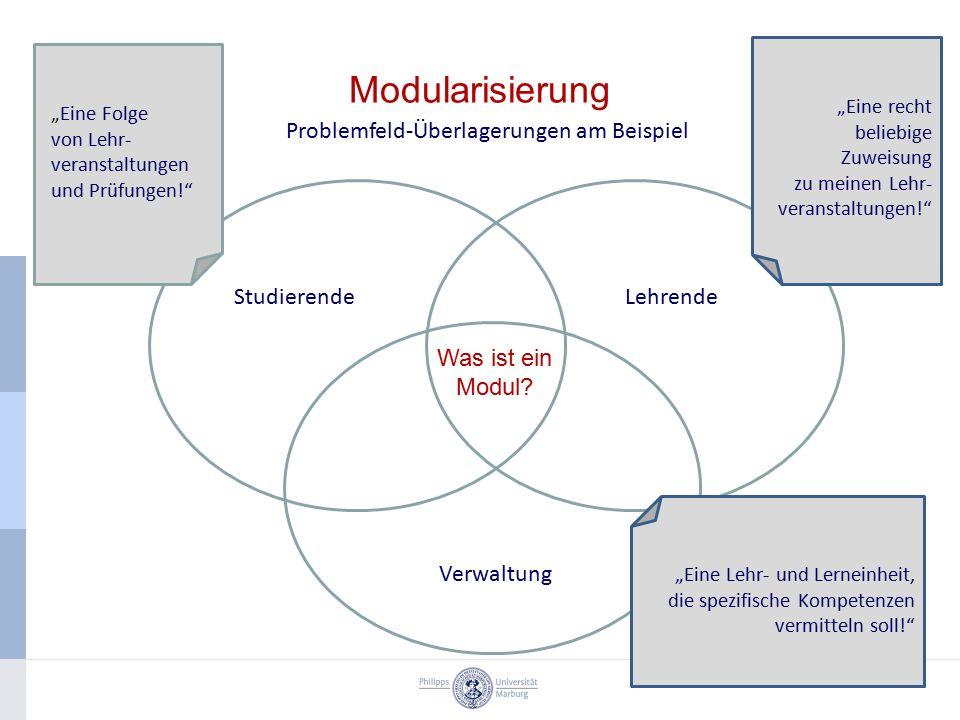 """Modularisierung Problemfeld-Überlagerungen am Beispiel StudierendeLehrende Verwaltung """"Eine Folge von Lehr- veranstaltungen und Prüfungen! """"Eine recht beliebige Zuweisung zu meinen Lehr- veranstaltungen! """"Eine Lehr- und Lerneinheit, die spezifische Kompetenzen vermitteln soll! Was ist ein Modul"""