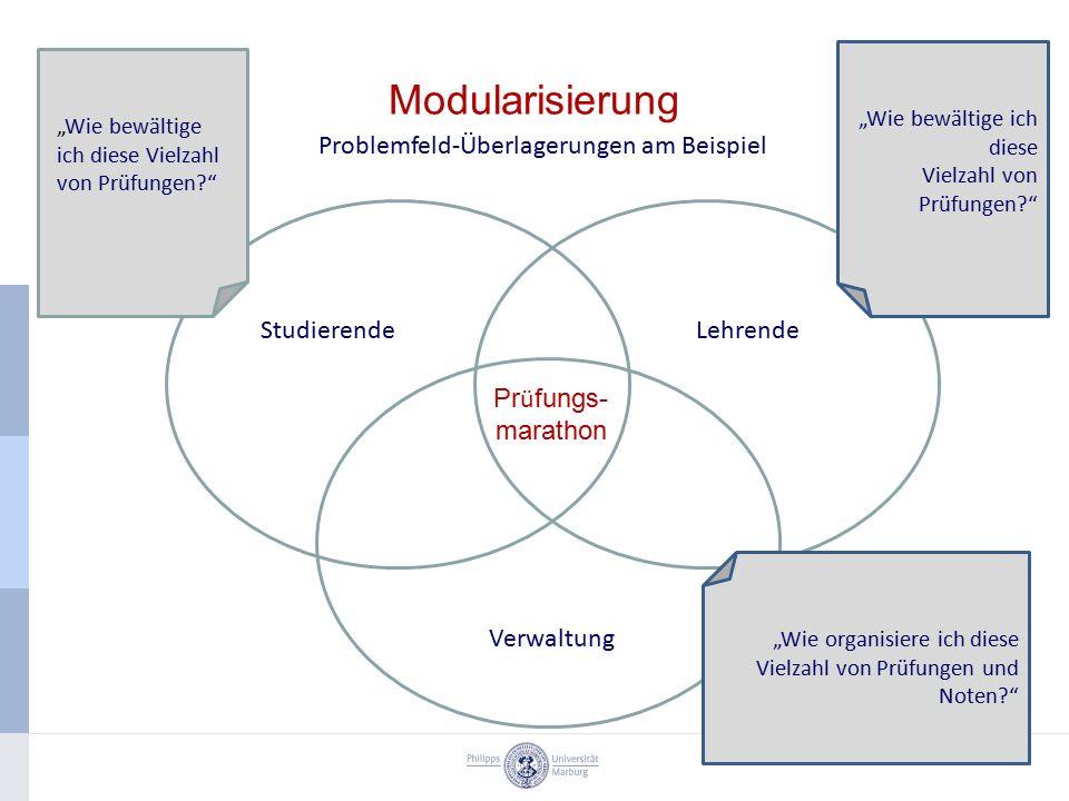 """Modularisierung Problemfeld-Überlagerungen am Beispiel StudierendeLehrende Verwaltung """"Wie bewältige ich diese Vielzahl von Prüfungen?"""" """"Wie bewältige"""