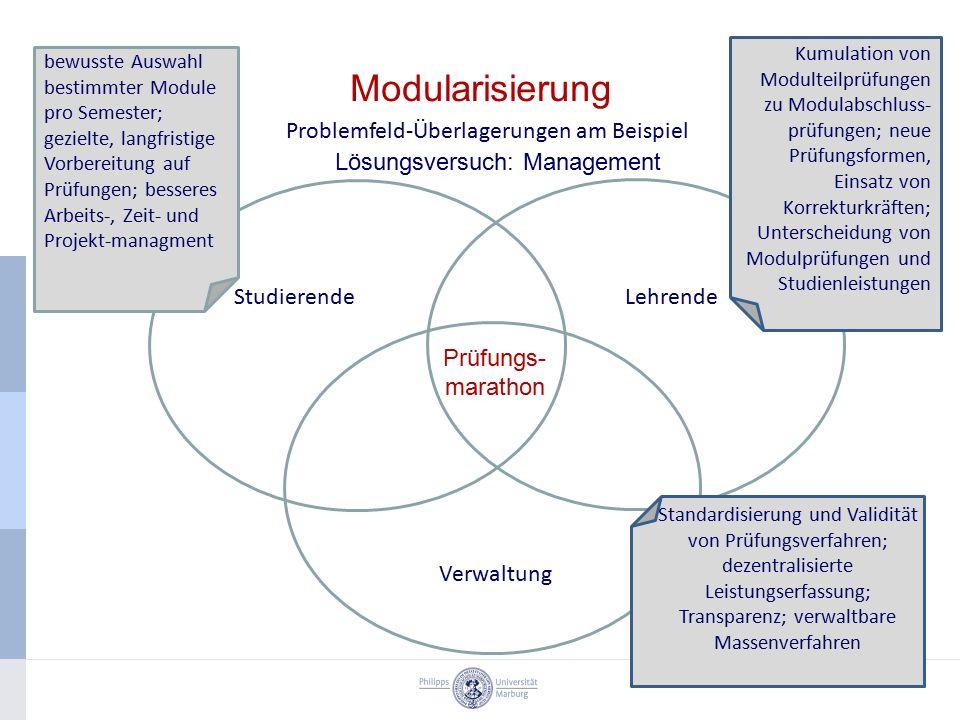Modularisierung Problemfeld-Überlagerungen am Beispiel StudierendeLehrende Verwaltung bewusste Auswahl bestimmter Module pro Semester; gezielte, langf