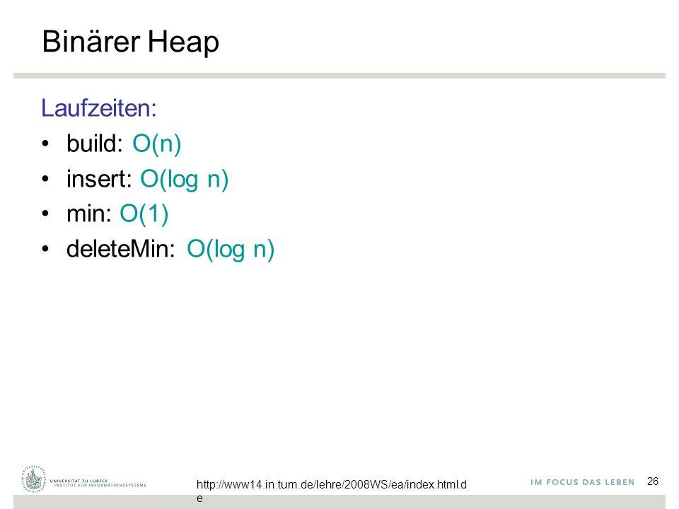 26 Binärer Heap Laufzeiten: build: O(n) insert: O(log n) min: O(1) deleteMin: O(log n) http://www14.in.tum.de/lehre/2008WS/ea/index.html.d e