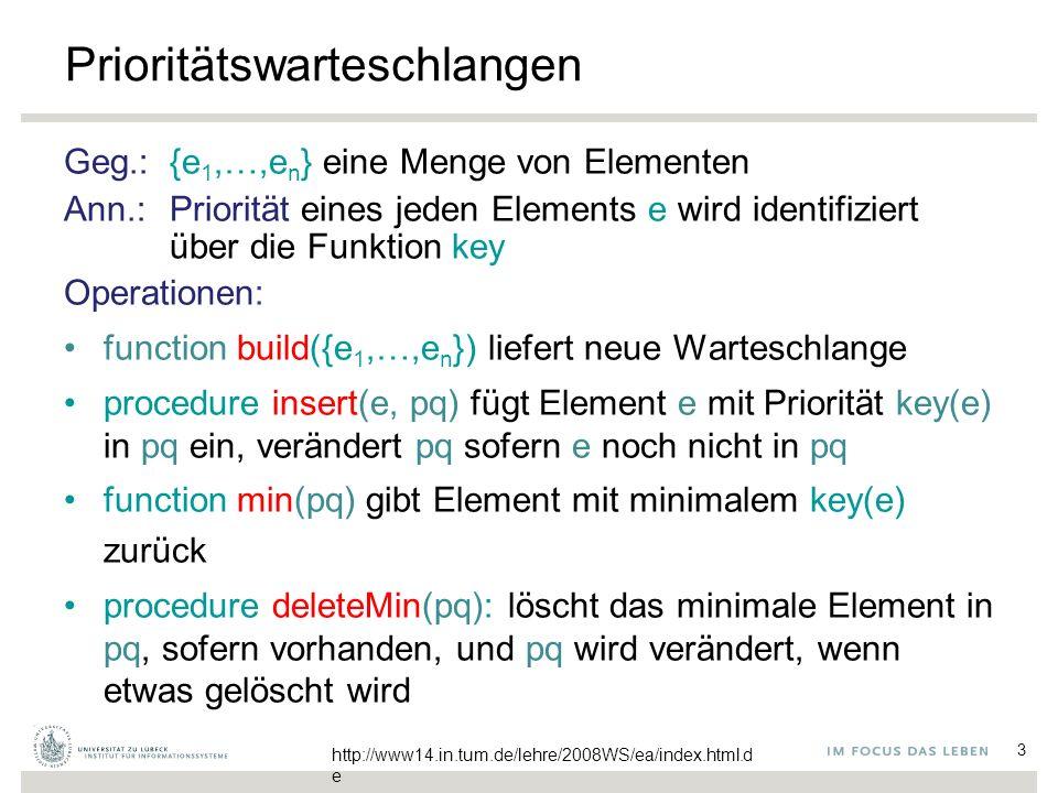 3 Prioritätswarteschlangen Geg.: {e 1,…,e n } eine Menge von Elementen Ann.: Priorität eines jeden Elements e wird identifiziert über die Funktion key Operationen: function build({e 1,…,e n }) liefert neue Warteschlange procedure insert(e, pq) fügt Element e mit Priorität key(e) in pq ein, verändert pq sofern e noch nicht in pq function min(pq) gibt Element mit minimalem key(e) zurück procedure deleteMin(pq): löscht das minimale Element in pq, sofern vorhanden, und pq wird verändert, wenn etwas gelöscht wird http://www14.in.tum.de/lehre/2008WS/ea/index.html.d e