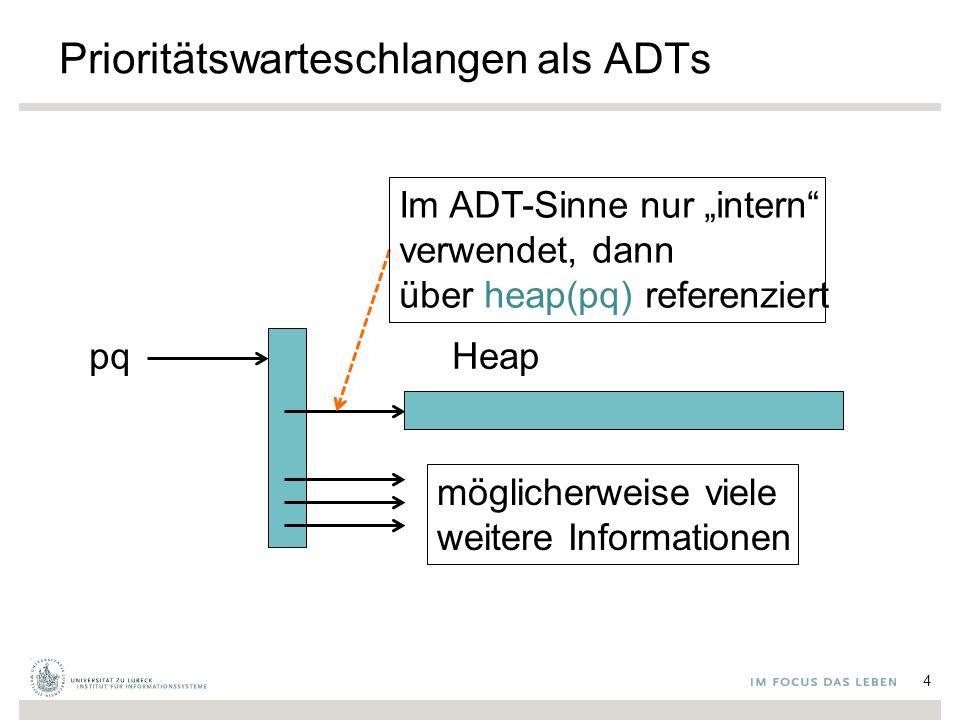 """Prioritätswarteschlangen als ADTs 4 pqHeap Im ADT-Sinne nur """"intern"""" verwendet, dann über heap(pq) referenziert möglicherweise viele weitere Informati"""