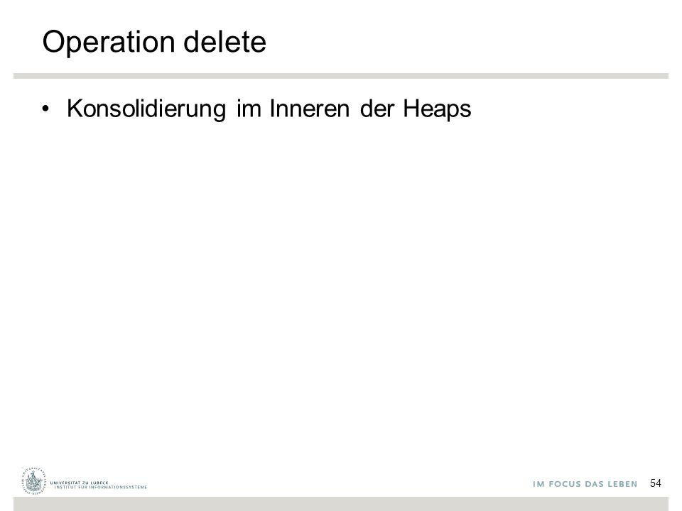 Operation delete Konsolidierung im Inneren der Heaps 54