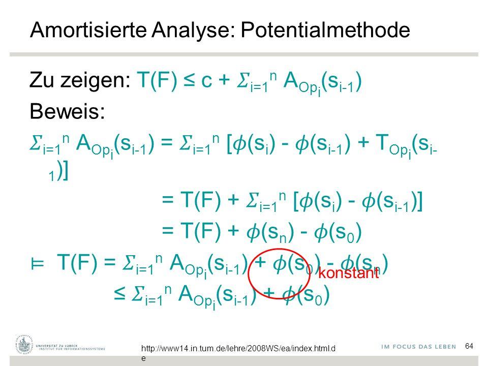 64 Amortisierte Analyse: Potentialmethode Zu zeigen: T(F) ≤ c +  i=1 n A Op i (s i-1 ) Beweis:  i=1 n A Op i (s i-1 ) =  i=1 n [  (s i ) -  (s i-1 ) + T Op i (s i- 1 )] = T(F) +  i=1 n [  (s i ) -  (s i-1 )] = T(F) +  (s n ) -  (s 0 ) ⊨ T(F) =  i=1 n A Op i (s i-1 ) +  (s 0 ) -  (s n ) ≤  i=1 n A Op i (s i-1 ) +  (s 0 ) konstant http://www14.in.tum.de/lehre/2008WS/ea/index.html.d e
