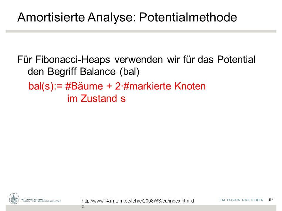 67 Amortisierte Analyse: Potentialmethode Für Fibonacci-Heaps verwenden wir für das Potential den Begriff Balance (bal) bal(s):= #Bäume + 2∙#markierte Knoten im Zustand s http://www14.in.tum.de/lehre/2008WS/ea/index.html.d e