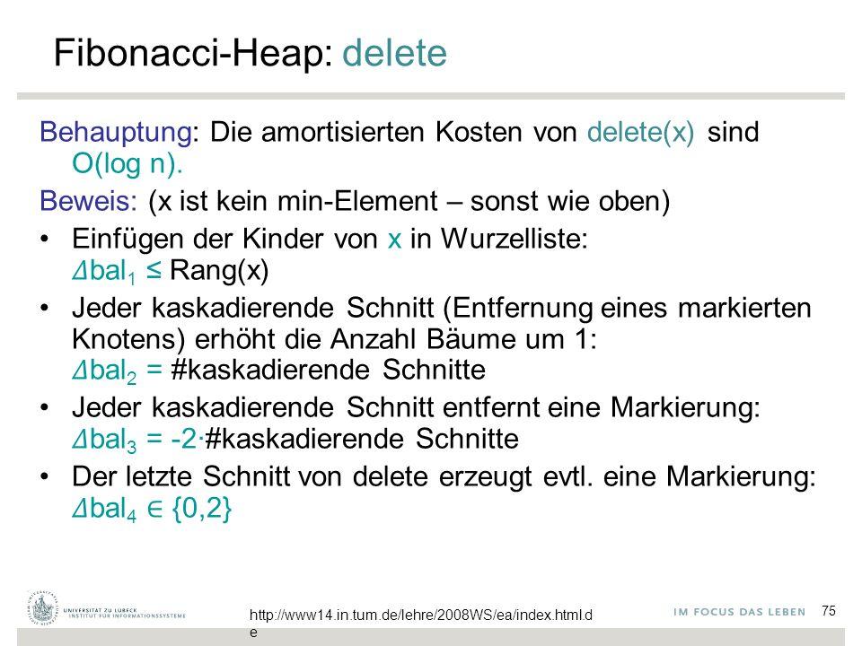 75 Fibonacci-Heap: delete Behauptung: Die amortisierten Kosten von delete(x) sind O(log n). Beweis: (x ist kein min-Element – sonst wie oben) Einfügen