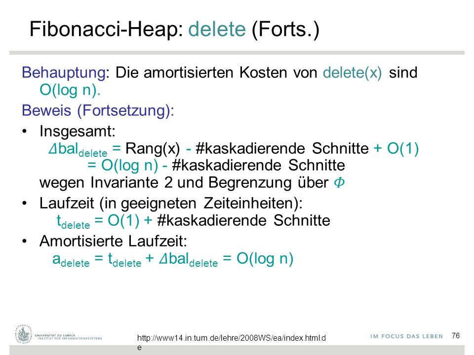 76 Fibonacci-Heap: delete (Forts.) Behauptung: Die amortisierten Kosten von delete(x) sind O(log n). Beweis (Fortsetzung): Insgesamt:  bal delete =
