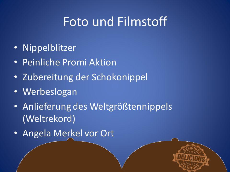 Foto und Filmstoff Nippelblitzer Peinliche Promi Aktion Zubereitung der Schokonippel Werbeslogan Anlieferung des Weltgrößtennippels (Weltrekord) Angela Merkel vor Ort