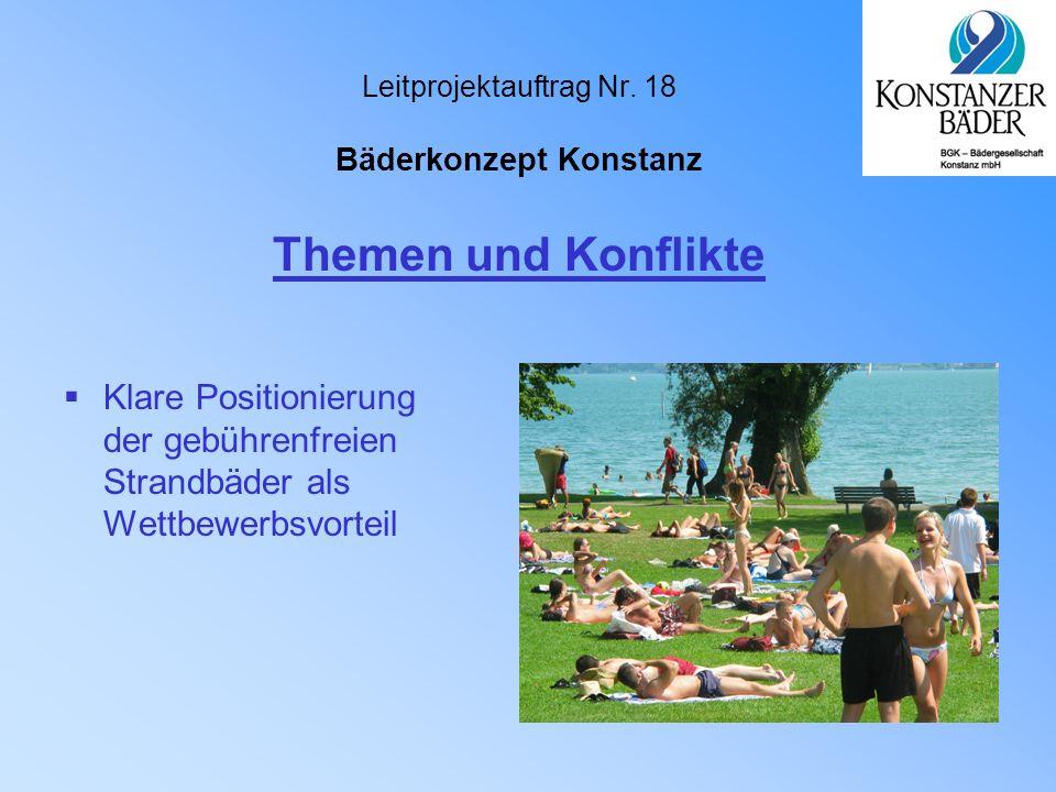 Leitprojektauftrag Nr. 18 Bäderkonzept Konstanz  Klare Positionierung der gebührenfreien Strandbäder als Wettbewerbsvorteil Themen und Konflikte