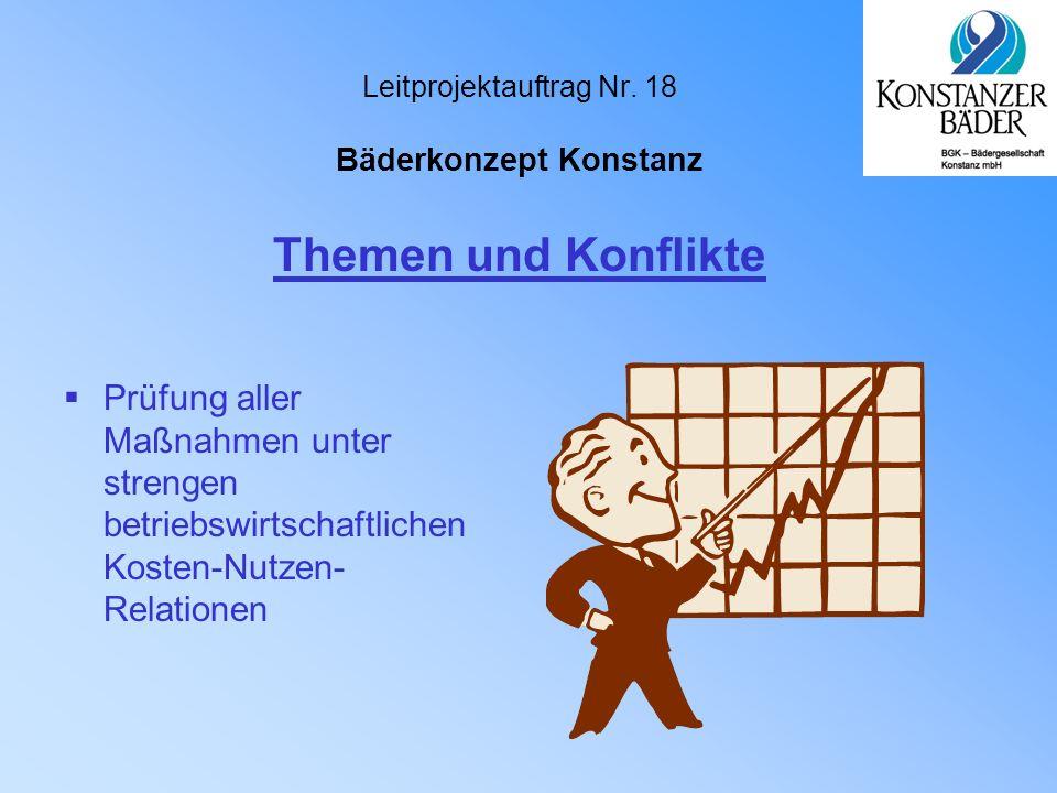 Leitprojektauftrag Nr. 18 Bäderkonzept Konstanz  Prüfung aller Maßnahmen unter strengen betriebswirtschaftlichen Kosten-Nutzen- Relationen Themen und