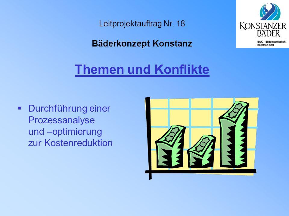 Leitprojektauftrag Nr. 18 Bäderkonzept Konstanz  Durchführung einer Prozessanalyse und –optimierung zur Kostenreduktion Themen und Konflikte