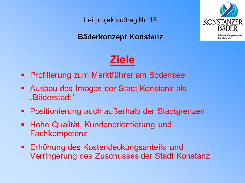 """Leitprojektauftrag Nr. 18 Bäderkonzept Konstanz Ziele  Profilierung zum Marktführer am Bodensee  Ausbau des Images der Stadt Konstanz als """"Bäderstad"""