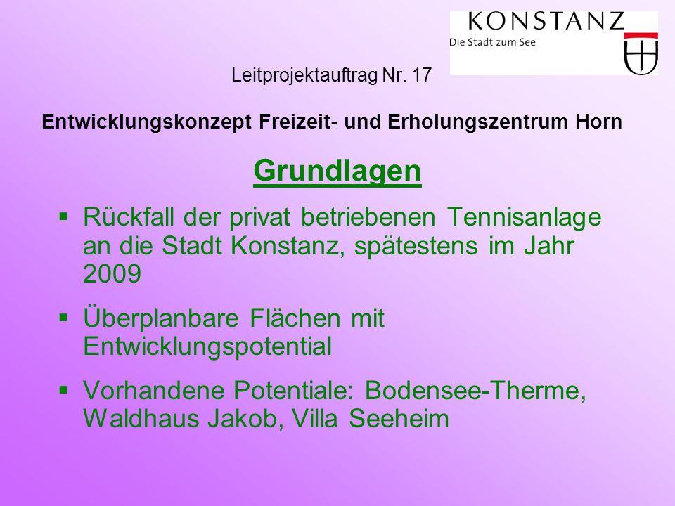 Grundlagen  Rückfall der privat betriebenen Tennisanlage an die Stadt Konstanz, spätestens im Jahr 2009  Überplanbare Flächen mit Entwicklungspotent