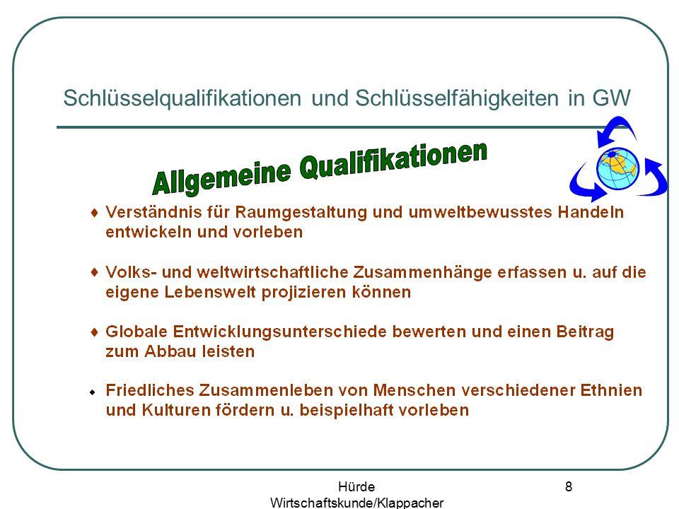 Hürde Wirtschaftskunde/Klappacher 7 Schlüsselqualifikationen und Schlüsselfähigkeiten in GW