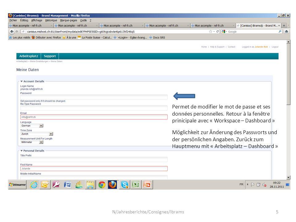 Permet de modifier le mot de passe et ses données personnelles.