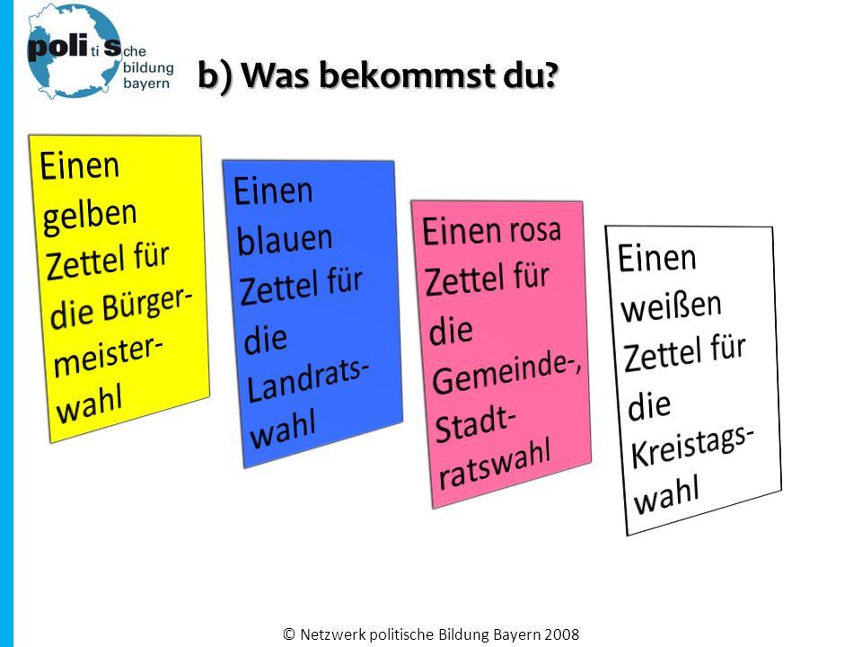 b) Was bekommst du? © Netzwerk politische Bildung Bayern 2008