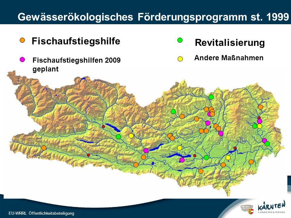12 EU-WRRL Öffentlichkeitsbeteiligung Gewässerökologisches Förderungsprogramm st. 1999 Andere Maßnahmen Fischaufstiegshilfe Fischaufstiegshilfen 2009