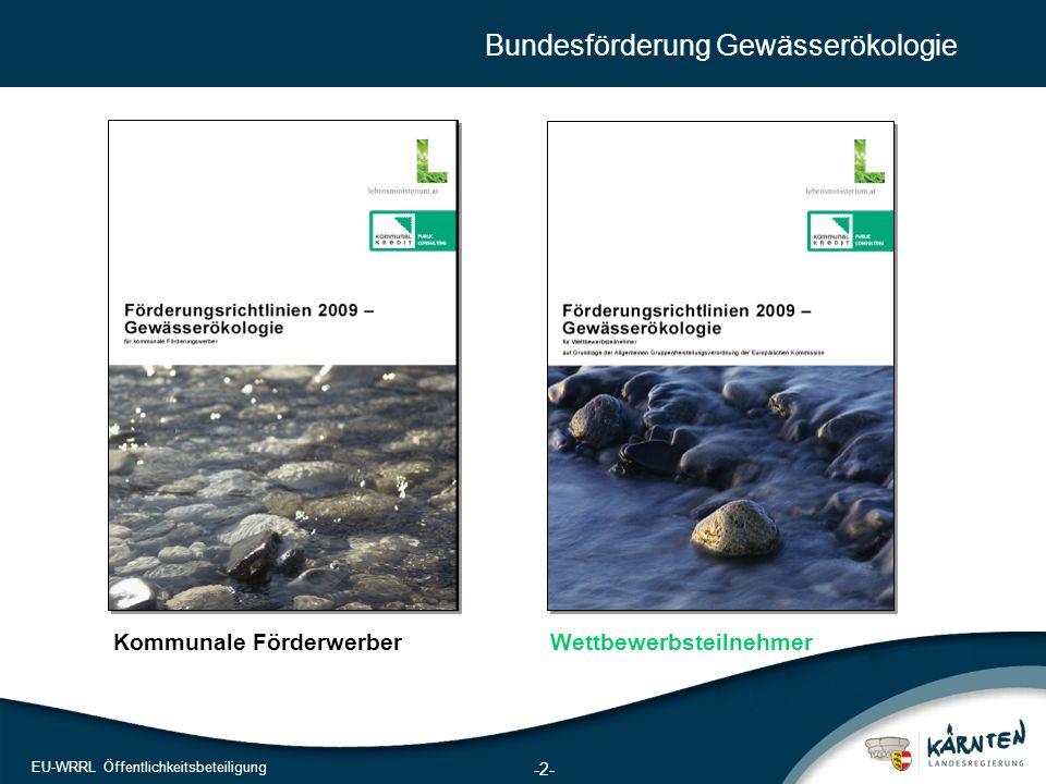 2 EU-WRRL Öffentlichkeitsbeteiligung Bundesförderung Gewässerökologie Kommunale FörderwerberWettbewerbsteilnehmer -2-