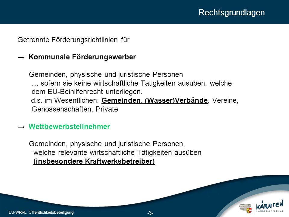 3 EU-WRRL Öffentlichkeitsbeteiligung Rechtsgrundlagen Getrennte Förderungsrichtlinien für → Kommunale Förderungswerber Gemeinden, physische und jurist