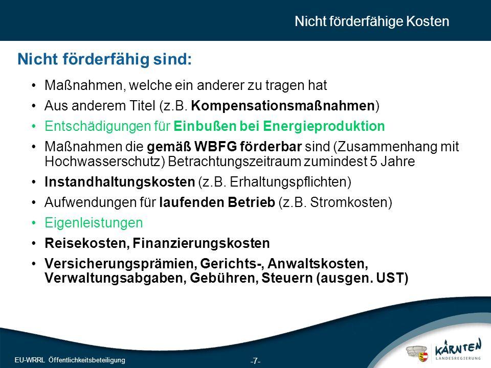 8 EU-WRRL Öffentlichkeitsbeteiligung Förderungsart und Förderungsausmaß Zusagerahmen 2009 – 2015: EUR 140 Mio.