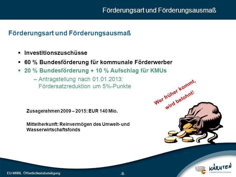 8 EU-WRRL Öffentlichkeitsbeteiligung Förderungsart und Förderungsausmaß Zusagerahmen 2009 – 2015: EUR 140 Mio. Mittelherkunft: Reinvermögen des Umwelt