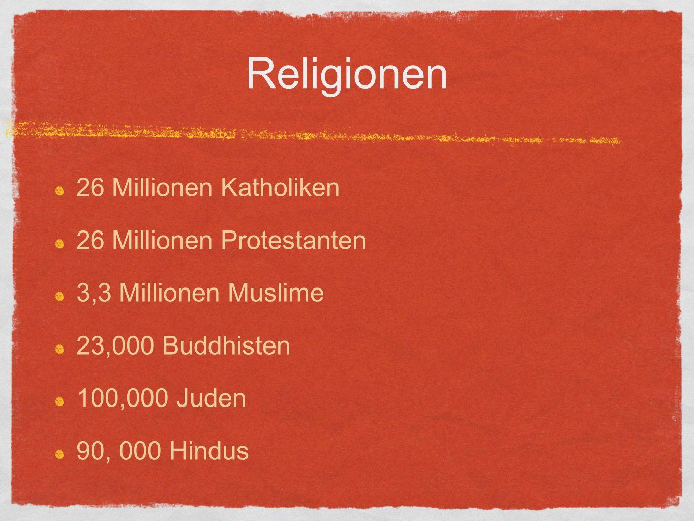 Religionen 26 Millionen Katholiken 26 Millionen Protestanten 3,3 Millionen Muslime 23,000 Buddhisten 100,000 Juden 90, 000 Hindus