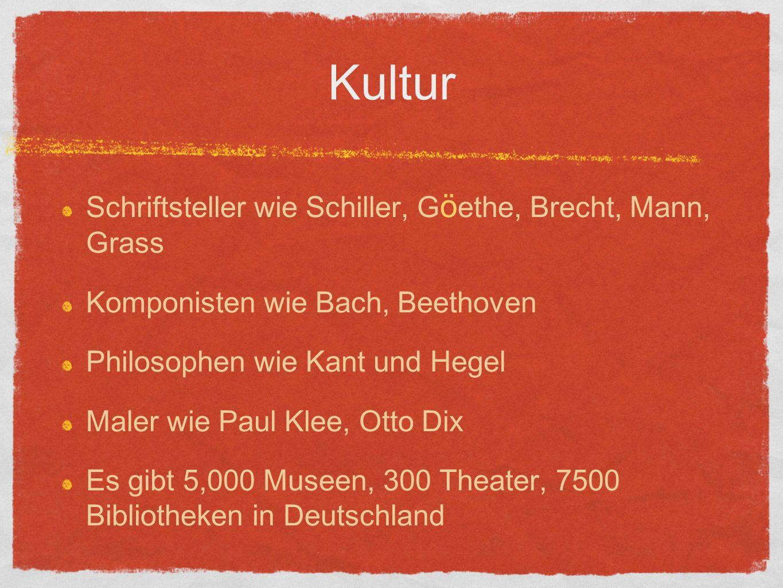 Kultur Schriftsteller wie Schiller, G ö ethe, Brecht, Mann, Grass Komponisten wie Bach, Beethoven Philosophen wie Kant und Hegel Maler wie Paul Klee, Otto Dix Es gibt 5,000 Museen, 300 Theater, 7500 Bibliotheken in Deutschland