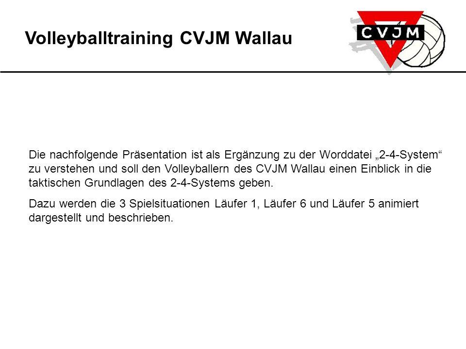 """Volleyballtraining CVJM Wallau Die nachfolgende Präsentation ist als Ergänzung zu der Worddatei """"2-4-System zu verstehen und soll den Volleyballern des CVJM Wallau einen Einblick in die taktischen Grundlagen des 2-4-Systems geben."""