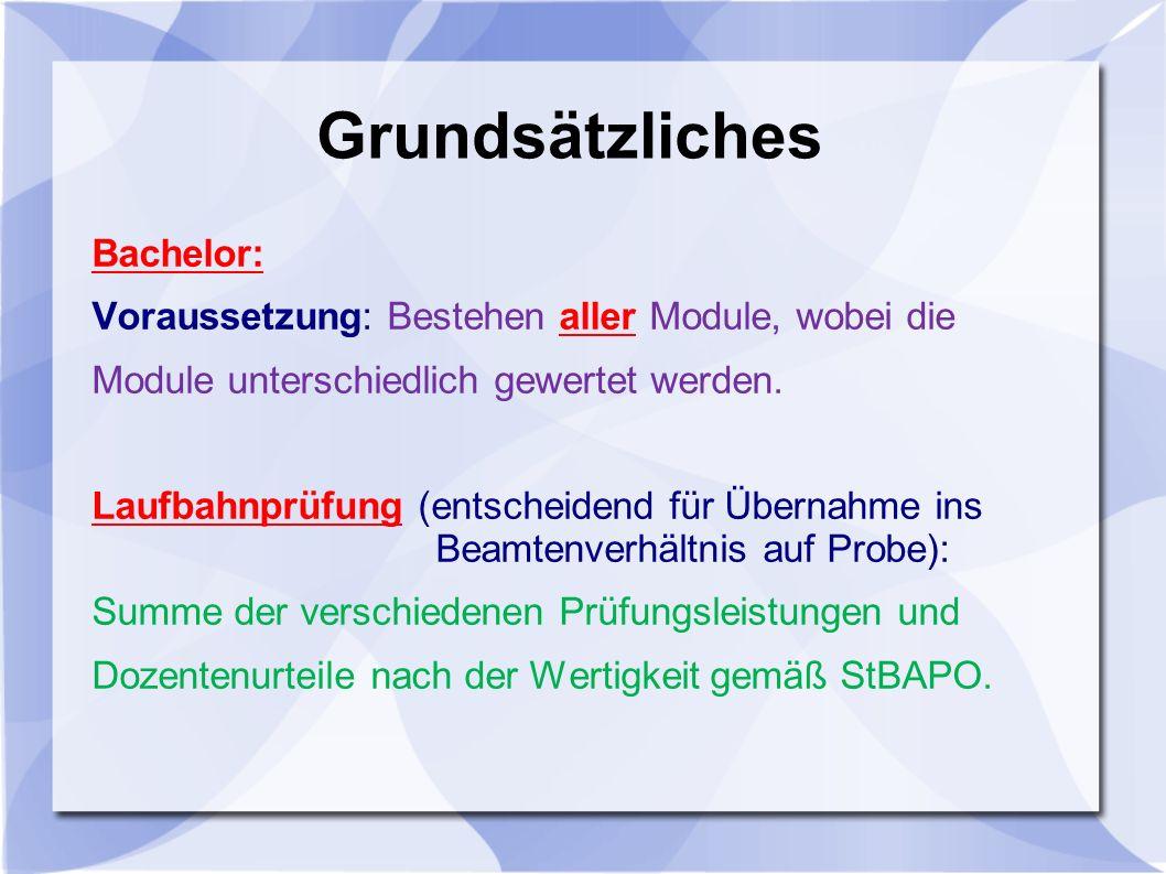 Grundsätzliches Bachelor: Voraussetzung: Bestehen aller Module, wobei die Module unterschiedlich gewertet werden.