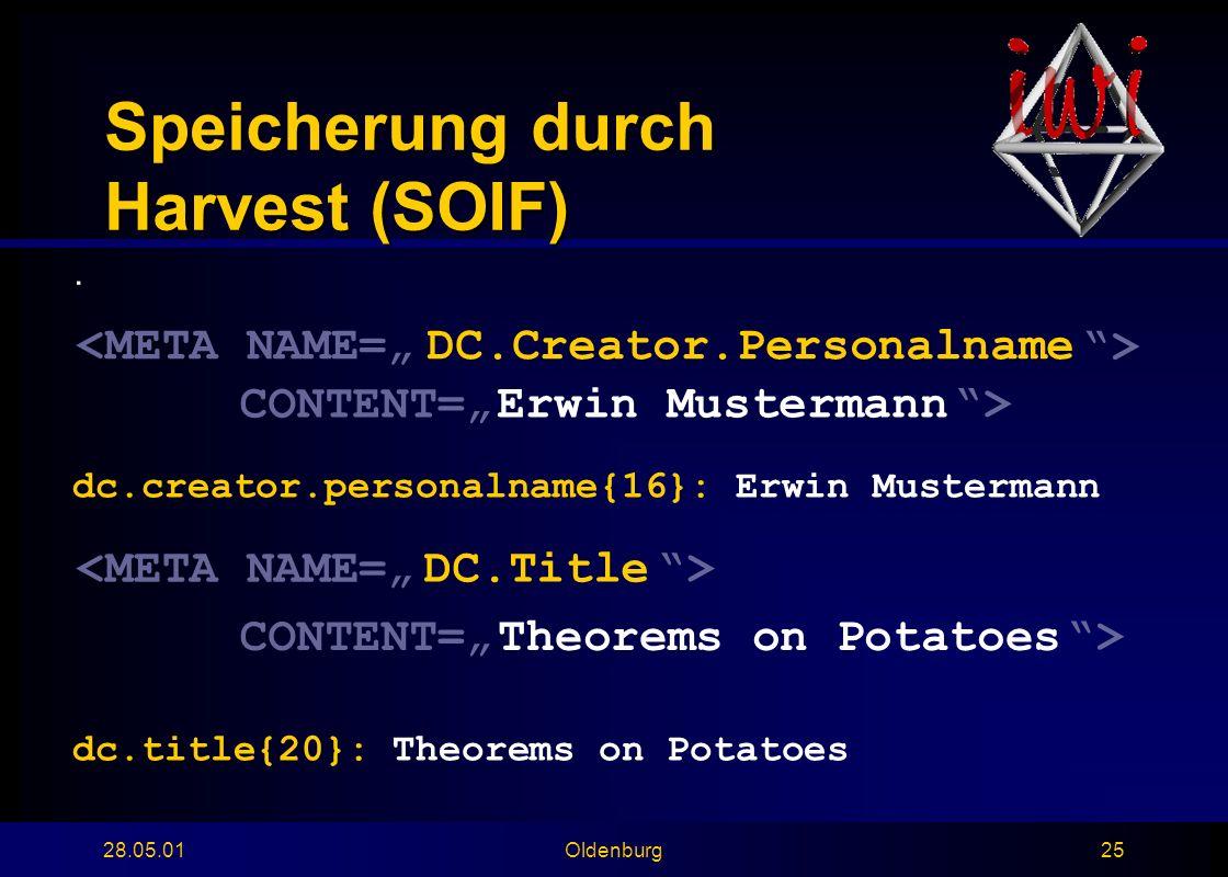 28.05.01Oldenburg25 Speicherung durch Harvest (SOIF).