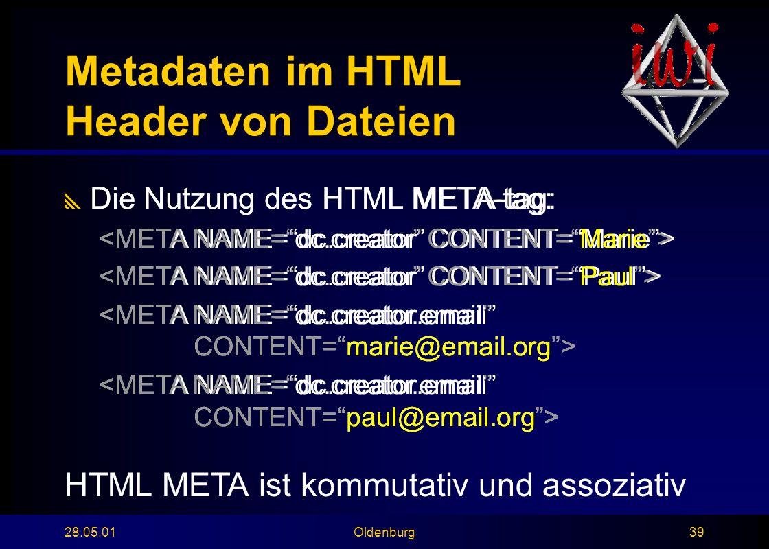 28.05.01Oldenburg39 Metadaten im HTML Header von Dateien  Die Nutzung des HTML META-tag:  Die Nutzung des HTML META-tag: HTML META ist kommutativ und assoziativ