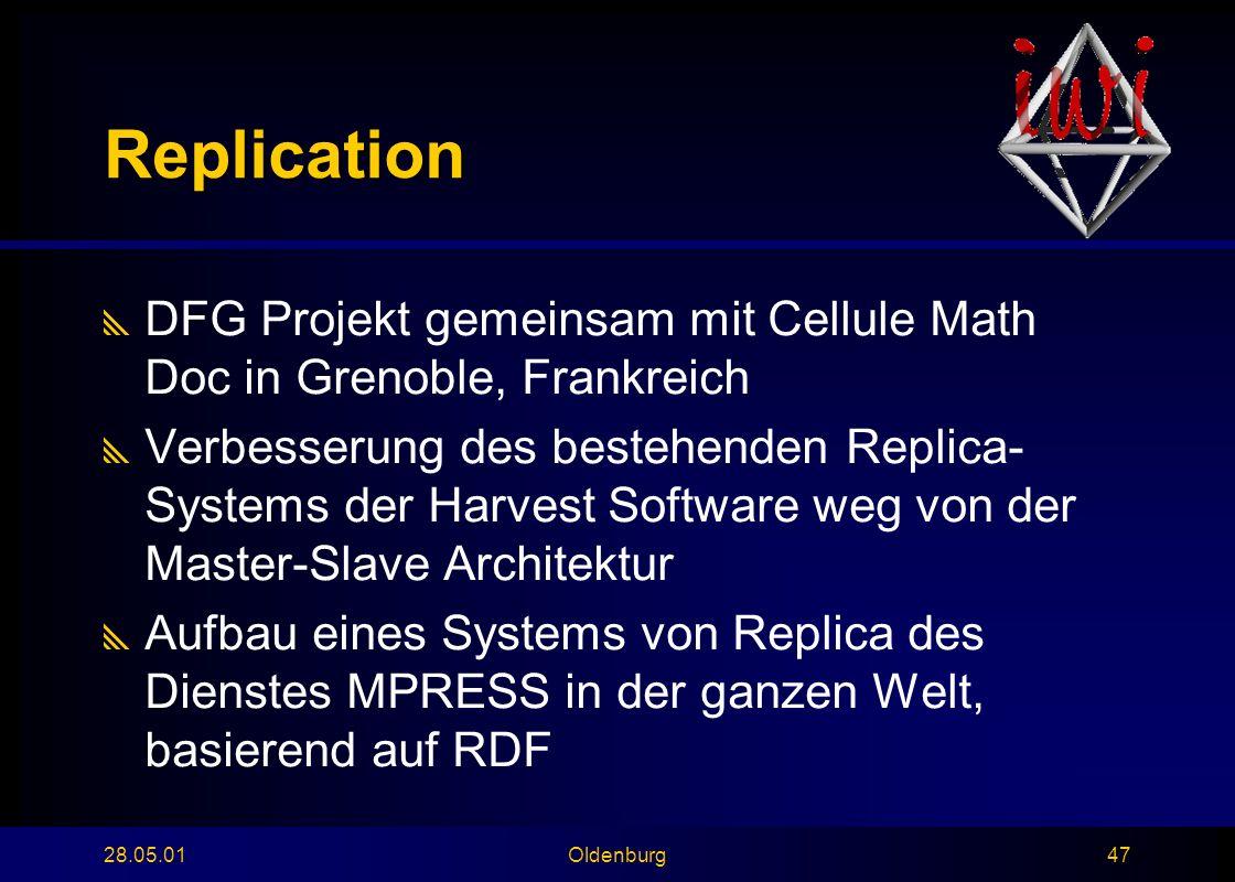 28.05.01Oldenburg47 Replication  DFG Projekt gemeinsam mit Cellule Math Doc in Grenoble, Frankreich  Verbesserung des bestehenden Replica- Systems der Harvest Software weg von der Master-Slave Architektur  Aufbau eines Systems von Replica des Dienstes MPRESS in der ganzen Welt, basierend auf RDF