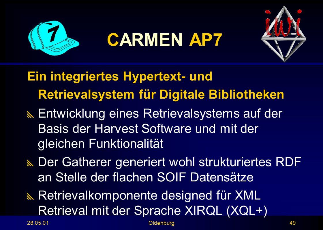 28.05.01Oldenburg49 CARMEN AP7 Ein integriertes Hypertext- und Retrievalsystem für Digitale Bibliotheken  Entwicklung eines Retrievalsystems auf der Basis der Harvest Software und mit der gleichen Funktionalität  Der Gatherer generiert wohl strukturiertes RDF an Stelle der flachen SOIF Datensätze  Retrievalkomponente designed für XML Retrieval mit der Sprache XIRQL (XQL+)