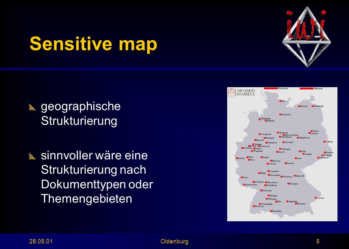 28.05.01Oldenburg5 Sensitive map  geographische Strukturierung  sinnvoller wäre eine Strukturierung nach Dokumenttypen oder Themengebieten